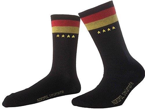 Weltmeistersocken, 1 Paar NORDPOL Socken, unisex, aus Baumwolle, mit Deutschlandfahne im Bündchen & 4 Sternen, Made in Germany, Gr. 43-46