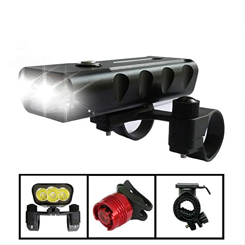 XiangY LED Fahrradlicht,Fahrradbeleuchtung 2400 Lumen 3 LED Fahrrad Licht L2 Taschenlampe USB Ladelampe Bike Frontlicht Set 2 Halter Mount Zubehör