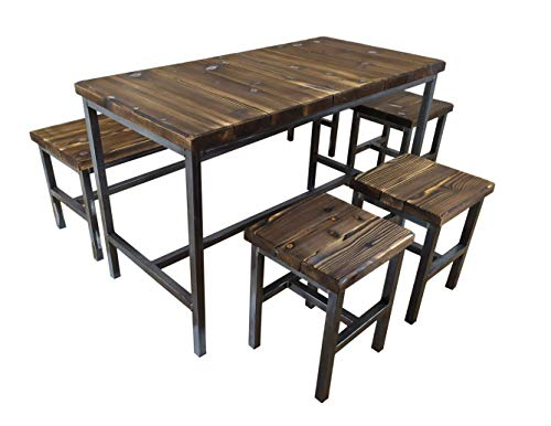 CHYRKA® Tisch Hocker Stuhl Bank SAMBOR -E Möbel Loft Vintage Bar Industrie Esszimmer Design Handmade Holz Metall (Set T60x60 + 4H)