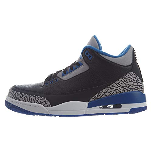 Nike Herren Air Jordan 3 Retro Fitnessschuhe, Schwarz Blau Grau (Black Sport Blue Wolf Grey), 45.5 EU