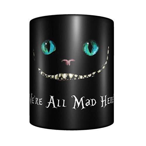 yushan We 'Re all Mad Here Alicia in Wonderland - Taza de café de cerámica con diseño de animales