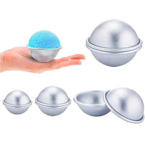 Xinlie Bad Bombe Form Aluminium Bath Bomb Kuchen Molds Bath Bomb Mold Kit DIY Seifenform Seifenform für Hausgemachte Badebomben und Basteln Sie Ihre Eigenen Fizzles für Handwerk (8 Stück)