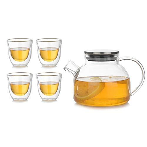 Kwiatowy Zestaw Czajniczek Stalowa Pokrywa Proste Podwójne Ciepłe Heart Herbata Cup Odporność na ciepło Szklany Ekspres do kawy 500ml (Size : 4 cups)