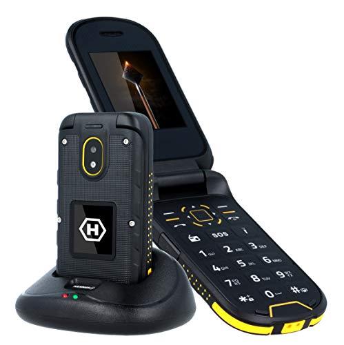 """HAMMER Bow+ IP68 2.4"""" y 1.44"""" dos pantallas, teléfono de cubierta al aire libre con estación de carga, 3G, 1200mAh, teléfono celular plegable, resistente al agua, resistente al polvo, Dual SIM - Negro"""