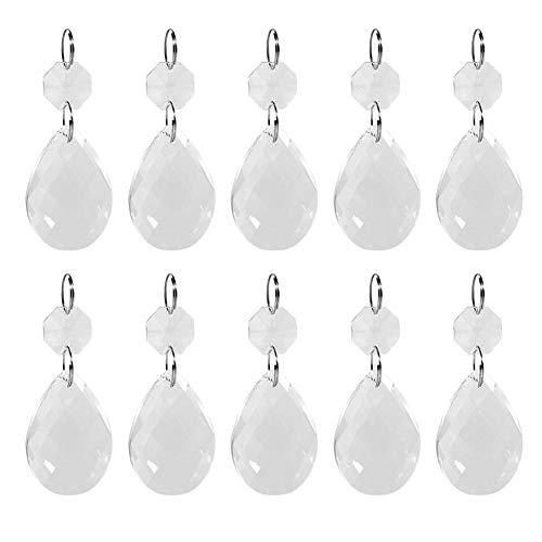 Zerodis Paquete de 2 Cristal claro Prismas de cristal que cuelgan Cristales para arañas Colgantes lágrima Cristal Perlas Accesorios de bricolaje