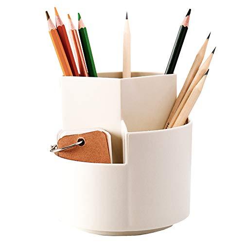 Portalápices giratorio con 3 compartimentos, Organizador de escritorio, Organizador de Bolígrafos, Portalápices creativo Soporte,Organizador de Oficina White