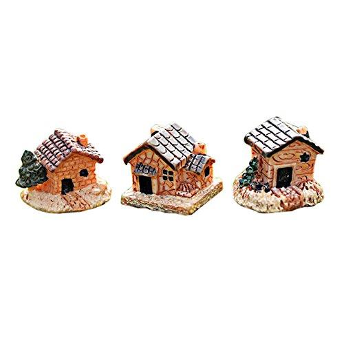 WARMWORD Mini Casa de muñecas Casa de Piedra Resina Decoraciones para casa Y Jardín Bricolaje Maqueta de Choza Edificio Miniature Resina Casa de Muñecas