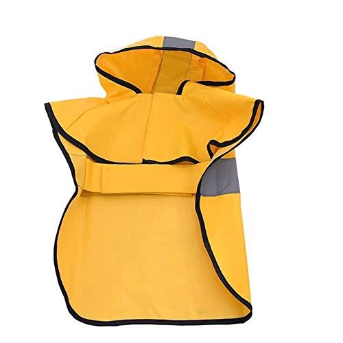 AleXanDer1 Hund Regenmantel Hunde-Bekleidung Raincoat Wasserdicht Poncho-Umhang Großer Fressnapf Gelben Regenmantel Grau Reflektierende Streifen Kleidung Jacke Medium Large