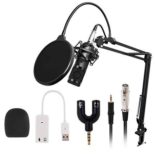 Techtest Condenser Microphone Kit, Bm-800 Mic Set with Adjustable Mic Suspension Scissor Arm, Metal Shock Mount and Double-Layer Pop Filter for Studio Recording & Broadcasting 3.5 Mm Microphone Splitter Notebook Usb 7.1 Sound Card External Independent Computer Deskto