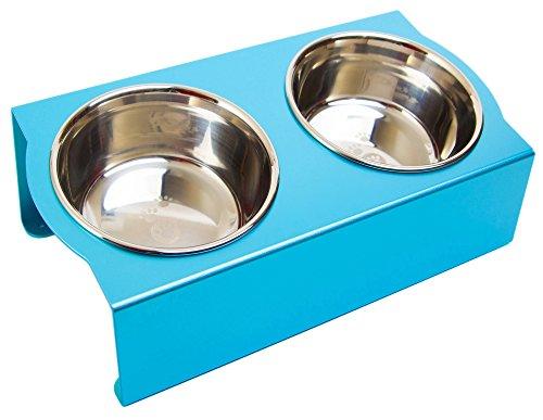 MATUMI (マツミ) アワーズ フードボウルテーブル Sサイズ ライトブルー 日本製 餌入れ 食器 食器台 足腰の負担を軽減 アルマイト処理 S サイズ