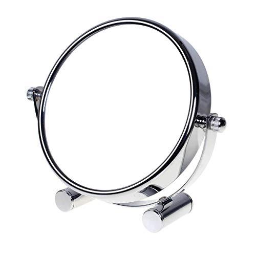 TUKA Espejo Compacto 5x Aumento, 5 Pulgadas Espejo de Baño para Afeitar y Maquillar, Espejo de mesa, Rotación 360 Grados, con Doble Cara: 1:1 y 1:5 Ampliación, Espejo Para Viajar, TKD3104-5x