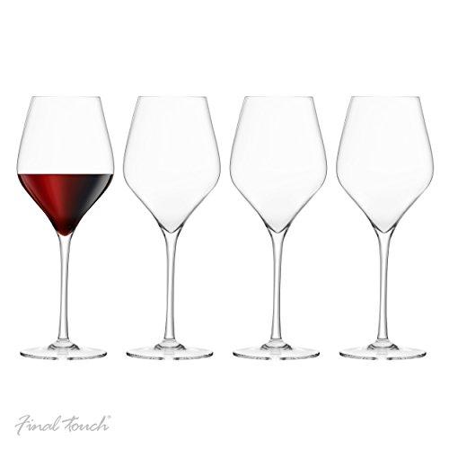 Final Touch PACK OF 4 100% Lead-free Crystal Red Wine Glasses Sans plomb Verres à vin rouge Fabriqué avec du DuraSHIELD Titanium renforcé pour une durabilité accrue - Hauteur 26 cm 620ml - Set de 4