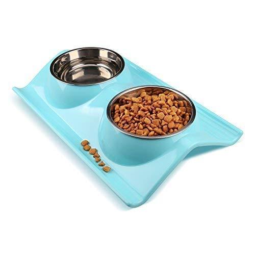 Miaosun doppelt Edelstahl Hund Katze Schalen mit rutschhemmenden und ausschüttsicheren Design, für Tiernahrung und Wasserzufuhr