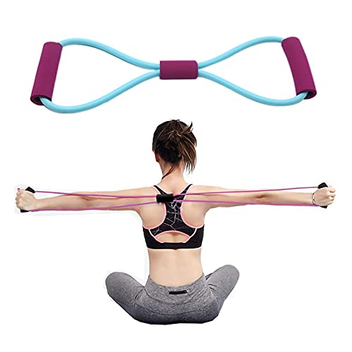 Renori Exercise Tube Band Chest Expander Rope Yoga Elastic Band Fitness Exercise Resistance Band Tensioner Eight-Character Rubber Latex Purple Handle Blue