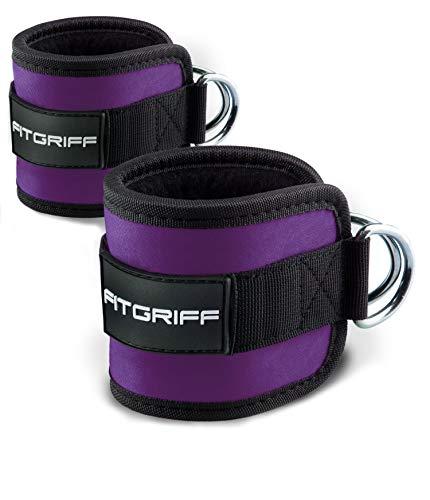 Fitgriff® Tobillera para Polea (Acolchado)- 2 Piezas Correas Tobillos Gym Cable Maquinas, Gimnasio, Fitness - Mujeres y Hombres - Purple