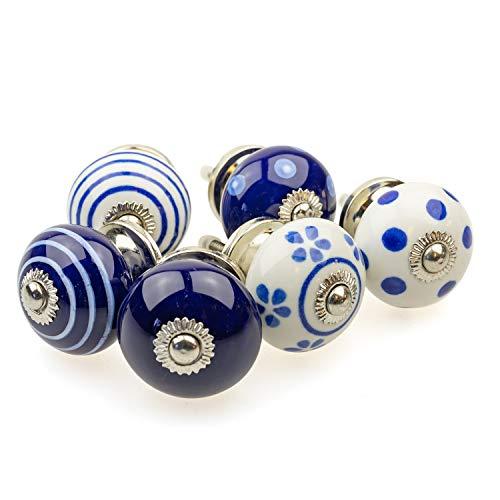 Set di 6 pomelli per mobili 090 GN a pois bianchi e blu scuro – Jay Button ceramica porcellana dipinta a mano vintage per mobili per armadio, cassetto, comò e porta