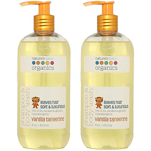 Natures Baby Organics Baby Shampoo And Body Wash, Moisturizing Tear Free Baby Shampoo All- Natural Baby Wash With Organic Ingredients, No Sulfate or Paraben, Vanilla Tangerine, 16 oz ea, 2 Pack