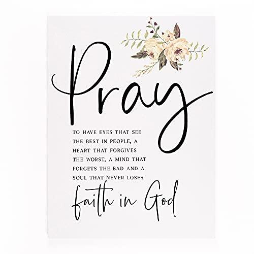 P. Graham Dunn Pray Never Loses Faith in God Floral Cream 15.75 x 12 Canvas Decorative Sign
