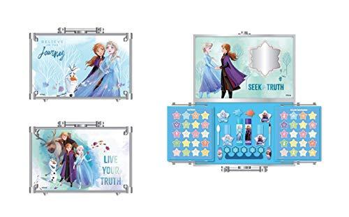 Markwins Frozen II Makeup Train Case - Maletín de Maquillaje de 2 Pisos - Set de Maquillaje para Niñas - Maquillaje Frozen - Neceser Maquillaje y Accesorios en un Maletín Reutilizable con Espejo