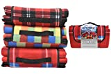 KandyToys Out There! Waterproof Fleece Picnic Blanket in Red Tartan for Outdoor, Beach, Camping, Park Picnic Rug 1.5 x 1.3m Roll Up Picnic Blanket
