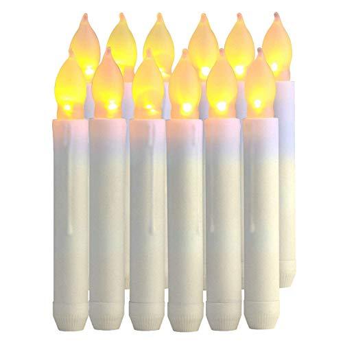 Paquete de 12 velas LED sin llama, funciona con pilas, velas votivas eléctricas parpadeantes realistas para bodas, iglesias de Navidad, Halloween, decoraciones navideñas, color blanco cálido