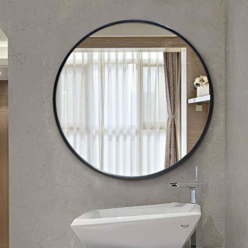 LZLYER Espejo Escritorio Espejo Tocador Baño Colgante de Pared Decoración Belleza S, Arte de Hierro Redondo Nórdico de Pared, Enmarcado de Metal, Decoración de Moda,Negro,70Cm