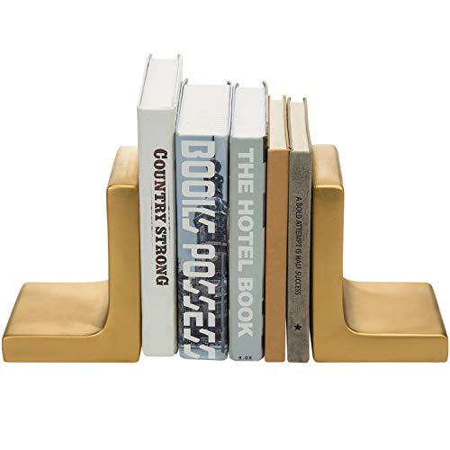 MyGift Modern Decorative Industrial Heavy Gold Concrete Bookends, Set of 2