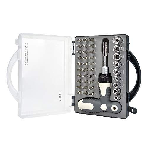 Lolypot Juego de destornilladores de precisión 41 en 1 kit de herramientas de reparación magnético de profesional telescópica de trinquete Herramientas de mano para el hogar con caja de la manija
