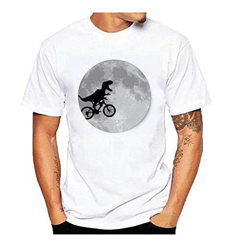 Tyoby Sommer Herren T-Shirt Fun Dinosaurier Rüsche Drucken Kurzärmliges Oberteil Lässige Herrenbekleidung(WeißA,S)