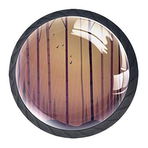 Pomo de armario Pájaros del árbol del bosque Pomos Redondos, 4 x Tirador de Cocina, Tiradores Muebles para Armario, Puerta Armario, Gabinete, Cajón, Puertas de Muebles, Zapateros 35mm