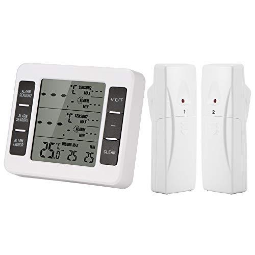 Thermomètre sans fil Thermomètre pour réfrigérateur Thermomètre pour congélateur numérique Alarme sonore avec 2 capteurs de température