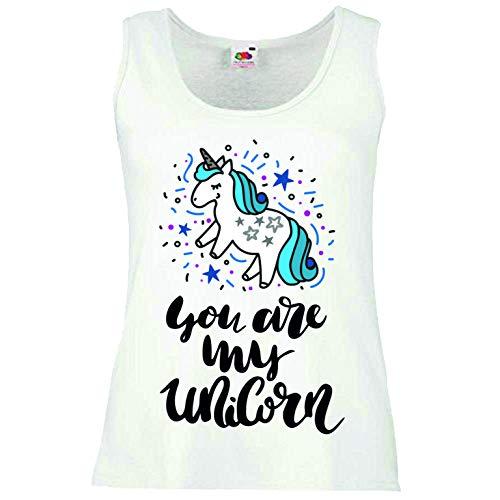 Reifen-Markt Camiseta sin mangas con diseño de unicornio, unicornio mítico, caballo, cabra, emoji, licorne, unicornio, mito, medieval, cuerno sin mangas, en color blanco Blanco M