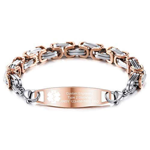 MOWOM Medical Alert Bracelet Custom Engraved Allergy Life Identification Name ID Stainless Steel Link Chain (Style14 - Rose-Gold Plain Tag & Silver Rose-Gold Byzantine Chain)