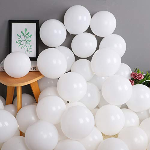 100 Pack 10 Inch Thicken Light White Balloons,Large Macaron White Latex Helium Balloons for Birthday Wedding Reception Bridal Shower Party Decorations Supplies