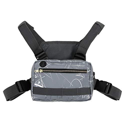 Qqmora Kratzfeste 600D Oxford Nylon Stoff Nylon Brusttasche, für Laufübungen, für den Außenbereich(Grey Pattern)