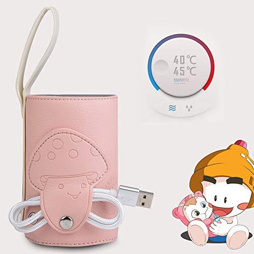 Smart Bottle Warmer Milchflaschenheizung, Babyflaschenwärmer, Babymilchheizung Flaschentasche Babyflaschenwärmer Abdeckung USB Babyflaschenwärmer, für Mineralwasserflaschen für(Pink)