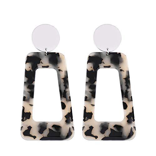 Ningz0l Oorbellen voor dames, oorsieraden, Europese en Amerikaanse eenvoudige acryl luipaard hars geometrische oorbellen vrouwelijk grijs luipaard