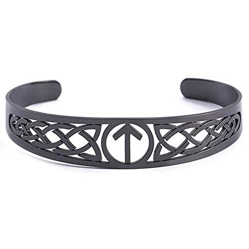 C2Jew Pulsera De Runas De Amuleto Vikingo Brazalete De Acero Inoxidable Diseño Hueco Símbolo del Nudo Celta,Negro