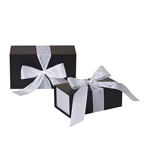 Jillson Roberts 2-Count Small Ribbon-Tie Gift Boxes Available in 4 Colors, Black Matte with White Ribbon