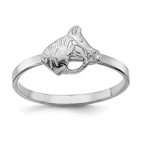 925 Sterling Silver Childs Horse Band Ring Size 4.00 Baby Animal Farm Fine Jewelry For Women Valentines Day Gifts For Her