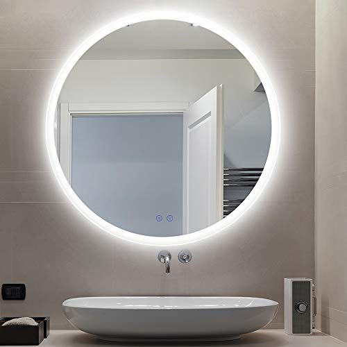 CITYMODA Bathroom Mirror with Led Lights, Modern Wall Mounted Makeup Mirror 24 Inch Round Frameless Backlit Bathroom Mirror, Smart Dimmable Vanity Mirror, Anti-Fog, 3 LED Color Adjustable