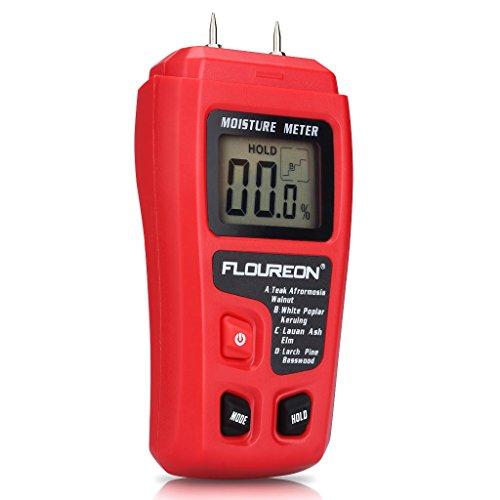 Feuchtigkeitsmessgeräte Digital Holz Feuchtemessgerät Feuchtigkeitsmesser Feuchtigkeits-Detector mit 2 Pins Sensor für Holz Brennholz Pappe Papier Baumaterialien inkl. Batterie
