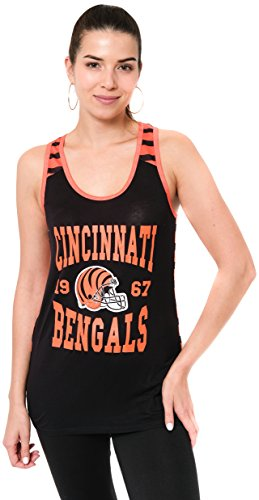 Ultra Game NFL Cincinnati Bengals Womens Jersey Tank Top Sleeveless Mesh Tee Shirt, Team Color, Medium