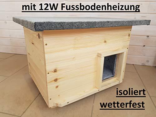 Lösche Holzbau Katzenhaus mit Heizung, Lasur Natur, wetterfest isoliert, Katzenhütte Wurfkiste Hundehütte