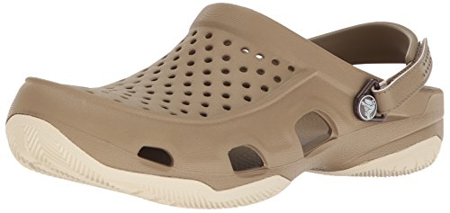 Crocs Swiftwater Deck Clog Men, Hombre Zueco, Marrón (Khaki/Stucco), 41-42 EU