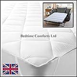 Bedtime Comforts Ltd - Colchón Acolchado para sofá Cama (140 x 191 cm), algodón Mixto, Blanco,...
