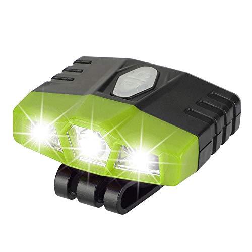 Sharplace Luz de Pesca de La Lámpara del Sensor del Recargable del USB de La Antorcha del Faro del Casquillo del LED - Verde