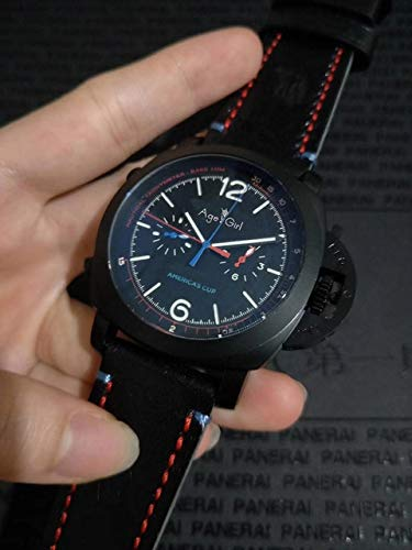 SDFASD Hombres De Marca De Lujo Automático Zafiro Mecánico Acero Inoxidable Reloj De Copa América Luminoso Cuero Negro Negro