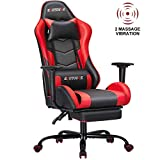 ECOTOUGE PC Massage Gaming Chair with Footrest Ergonomic Office Desk Chair Racing PU Leather Recliner Swivel Rocker with Headrest and Lumbar Pillow,Red