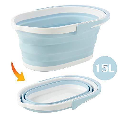 Wäschekorb faltbar 46 x 30,3 x 20,4 cm Faltbarer Wäschesammler aus Silikon und Kunststoff Aufbewahrungskorb einfach klappbar Camping-Korb(Blau)